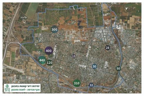 פריסת המוקדים המרכזיים בהם מתוכננות יחידות דיור קטנות בשכונות החדשות.