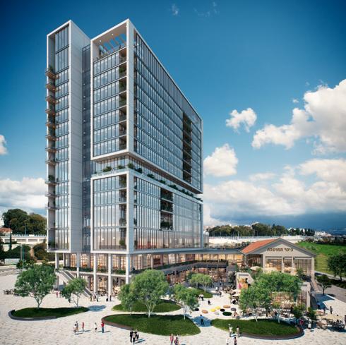 13 קומות משרדים, 2 קומות מסחר. כיכר המושבה | הדמייה: DIVISION3